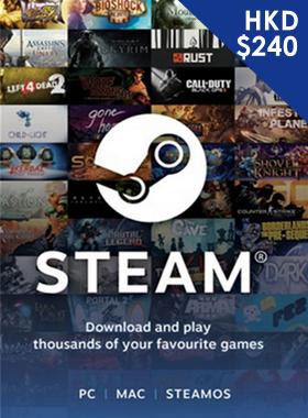 Steam Gift Card $240 HKD
